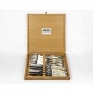 Приборы Goyon-Chazeau 6600223-1 набор 12 предметов Тьер, рукоятки из светлого рога, в дубовой коробке, 6 ножей+6 вилок