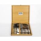 Приборы Goyon-Chazeau 1600223-2 набор 12 предметов Лагьоль, рукоятки из темного рога, в дубовой коробке