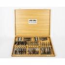 Приборы Goyon-Chazeau 1600224-2 набор 24 предмета форма Лагьоль, рукоятки из темного рога, в дубовой коробке