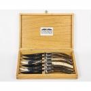Приборы Goyon-Chazeau 11600201 дубовый ларец с 6 узорчатыми ножами, рукоятка темный рог