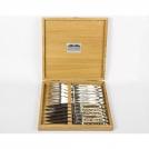 Набор 12 предметов Goyon-Chazeau, Рог оленя, рукоятки из рога оленя, в дубовой коробке, 6 ножей + 6 вилок
