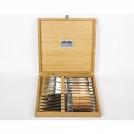 Набор 12 предметов Goyon-Chazeau, Разные породы, рукоятки из разных пород дерева, в дубовой коробке, 6 ножей + 6 вилок