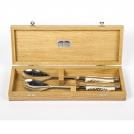 Набор для сервировки салата Goyon-Chazeau, Рог оленя, рукоятки изрога оленя, в дубовой коробке