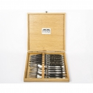 Набор 12 предметов Goyon-Chazeau, Рог буйвола, рукоятки из рога буйвола, в дубовой коробке, 6 ножей + 6 вилок