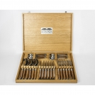Set of 24 items Goyon-Chazeau, Camel bone, camel bone handle, 6 Knives, 6 Forks, 6 Spoons, 6 Teaspoons, in oak wooden presentation box