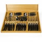 Приборы Goyon-Chazeau 9400224 набор 24 предмета форма Тьер, рукоятки из рога оленя, в дубовой коробке