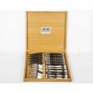 Приборы Goyon-Chazeau 2900223 набор 12 предметов Лагьоль, рукоятки из черного акрила, в дубовой коробке