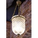 Medium lantern lamp, the work of authorship, bronze, crystal, ArtDeco