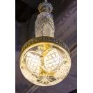 Потолочная люстра с балясиной, авторская работа, 230 см, бронза, хрусталь