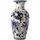 GIEN fluted vase, Pivoines Bleu, H 36 cm