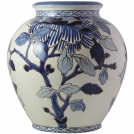 Cremone vase, GIEN, Pivoines Bleu, diameter 36.5 cm
