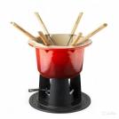 Кастрюля для фондю Compact, эмалированный чугун, вилки 3шт, подставка, цвет: вишневый , 60010000602460, LE CREUSET