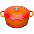 Кастрюля круглая для запекания 24 см, чугун, цвет оранжевая лава, 21177240902430, LE CREUSET