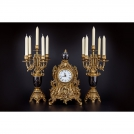 Set of Clock and 2 Сandelabras Olympys Brass, 419/449 GAMN, bronze, antique gold, black marble