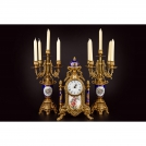 Set of Clock and 2 Сandelabras Olympus Brass, 425/449 GAPB, bronze, antique gold, light blue porcelain
