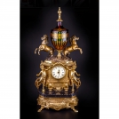 Clock with horses Olympus Brass, 535 GAMN CR BICOLOR, bronze, antique gold, black marble, crystal