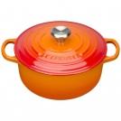 Кастрюля круглая для запекания 20 см, чугун, цвет оранжевая лава, 21177200902430, LE CREUSET