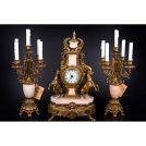 Set of Clock and 2 Сandelabras Olympys Brass, 417/449 GAMP, bronze, antique gold, pink marble
