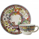 Cup and Saucer Gien (for tea), Bagatelle, 160 ml, 15.2 cm.