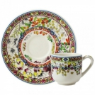 Cup and Saucer Gien (espresso), Bagatelle, 80 ml, 12.9 cm.