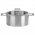 Stock pot CRISTEL, Fixed Strate, 26 cm, high-sided heat-diffusing base + glass lid with folding lid button