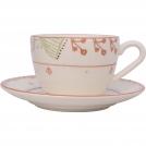 F361500328D0491 Чашка чайная с блюдцем, ваниль, орнамент полоски