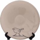 F472101177D0495 Чашка для эспрессо с блюдцем, цвет бежевый, рисунок-птицы