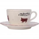F480400328D0506 Чашка для завтрака с блюдцем, животные