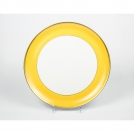 Round cake dish, Haviland & C.Parlon, Arc en ciel, golden-yellow, 32 cm.