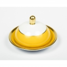 Butter dish, Haviland & C.Parlon, Arc en ciel, golden-yellow, 10 cm.