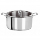 Stock pot CRISTEL, Casteline collection, 26 cm, triple-layer Multiply (stainless steel / aluminium / stainless steel) body +  glass lid