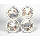Set of canape plates Gien, Fables de La Fontaine, 4 pcs, 16.5 cm.
