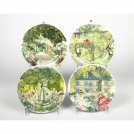 Set of canape plates Gien, De Paris a Giverny, 4 pcs, 16.5 cm.