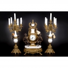 Set of Clock and 2 Сandelabras Olympys Brass,  415/440 GAMW, bronze, antique gold, white marble