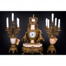 Set of Clock and 2 Сandelabras Olympus Brass, 417/449 GAMP, antique gold, pink marble