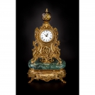 Clock Olympus Brass, 519 GAMV CR BICOLOR, bronze, antique gold, green marble, crystal