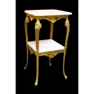 Square table, 2 levels, Olympus Brass, 801 GAMP, antique gold, pink marble