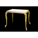 Small table Olympus Brass, 804 GDMP, 24-carat gold, pink marble